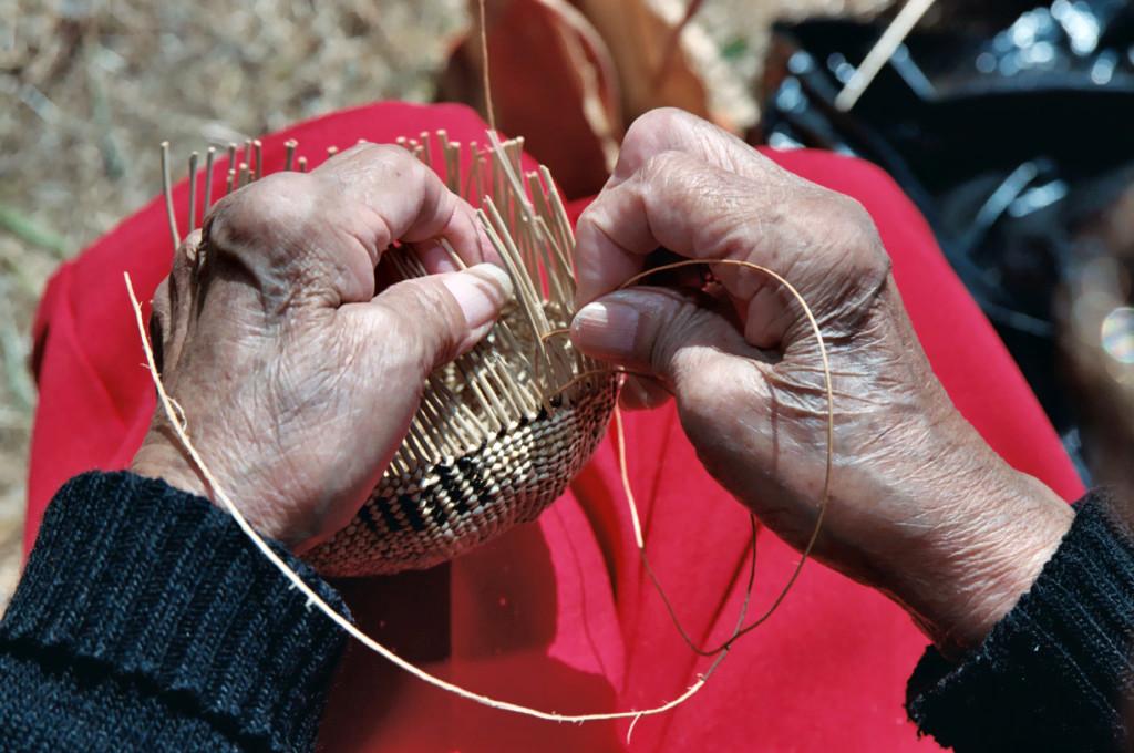 weaving a basket