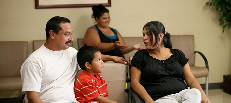 family in lobby